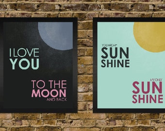 You are my sunshine and I Love you to the Moon -  Vintage Distressed Nursery Print Set - yellow grey pink blue