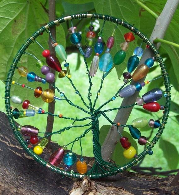 Multi-Colored Metal Bead Work Tree of Life Sun Catcher / Window Ornament