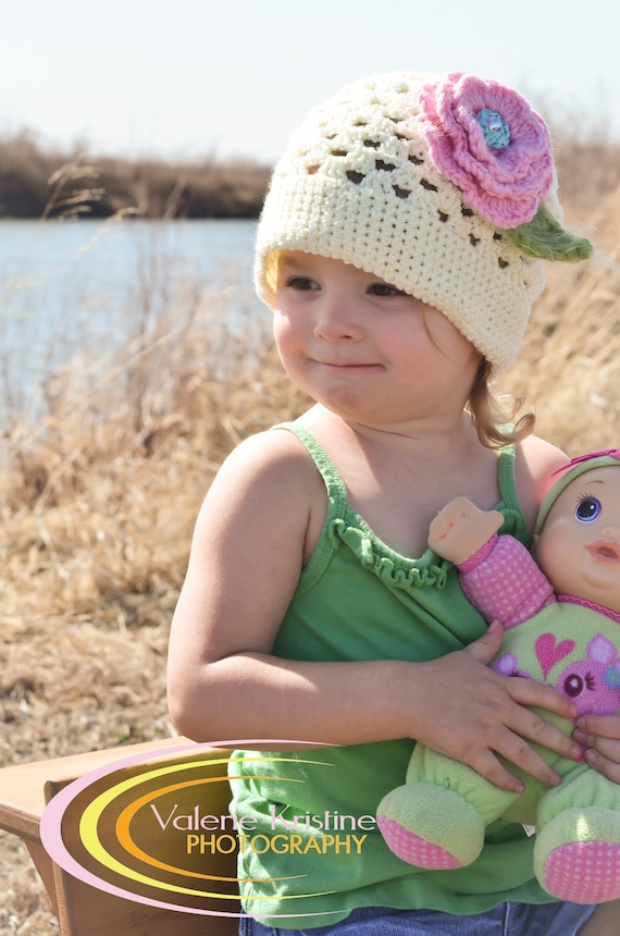 Dahlia - 0029 - PDF PATTERN for Children's Crochet Hat with Flowers and Leaves - Sizes Included for CHILDREN 1-3 years and 3-10 years