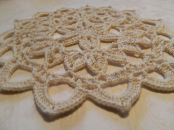 Hand crocheted doily in ecru, bamboo thread