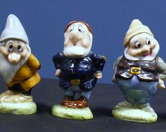 """Walt Disney's """" Seven Dwarfs """" Wade Productions England Porcelain Figurines MINT Condition"""