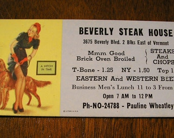 1940s Vintage Beverly Steak House Pin Up Girl Advertising Card, A Hitch In Time
