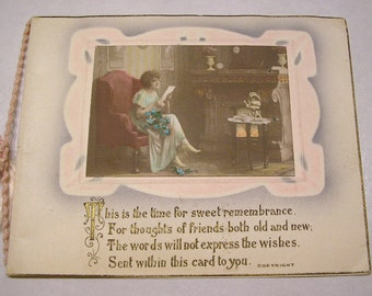 This is the Time for Sweet Remembrance, circa 1910 Antique Greeting Card