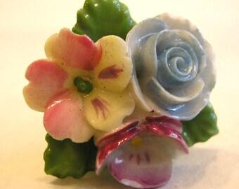 Vintage Porcelain Hand Painted Floral Earrings, Flowers, Made in Japan