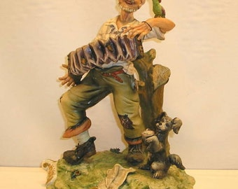 Vintage Capodimonte Accordion Player with Dog and Bird Porcelain Figure