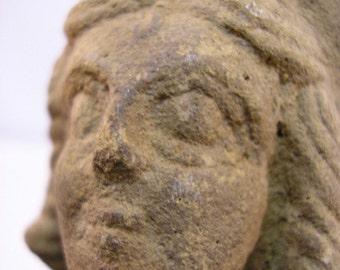 Ancient Greek Tanagra Figure Head of a Woman, circa 300 BC