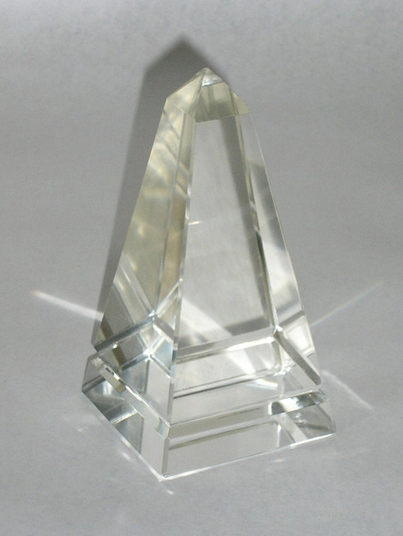 A Vintage Glass Obelisk Pyramid Paperweight, Object