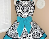 Damask Print Accented with Aqua Womans Retro Apron With Tiered Skirt And Bib