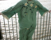 Gorgeous Original Vintage 1920's House Coat in Jade with Oriental Floral Embroidery