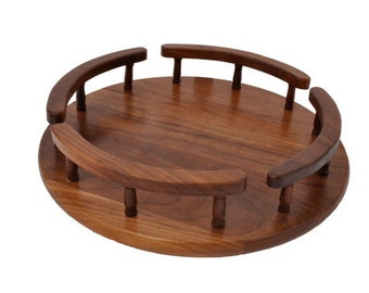 "Walnut lazy Susan 14"" diameter"