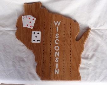 Oak Wisconsin Cribbage Board