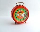 Vintage red / orange alarm clock  made in Germany - unique clock