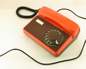 RESERVED FOR RAY - Vintage orange and brown rotary telephone Tesla