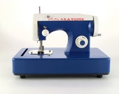Vintage Russian Toy Sewing Machine - blue and white