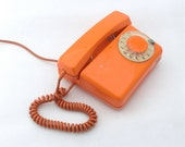 RESERVED FOR RAY - Vintage orange rotary telephone