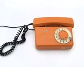 RESERVED FOR RAY - Vintage mustard / orange rotary telephone