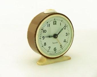 Vintage alarm clock, clock made in Russia, 70s brown / chocolate alarm clock, mechanical alarm clock