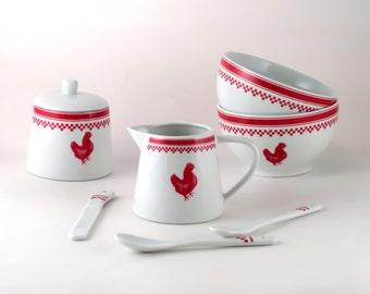 Vintage porcelain breakfast set 80s