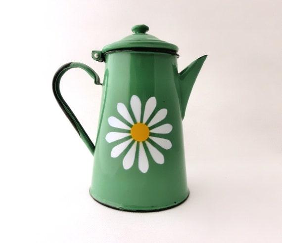 Vintage green enamel coffee pot