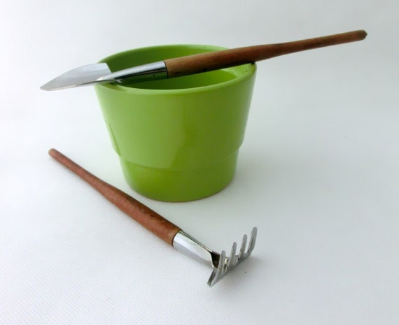 Vintage toy home garden tools, Autumn garden, Shovel and Rake