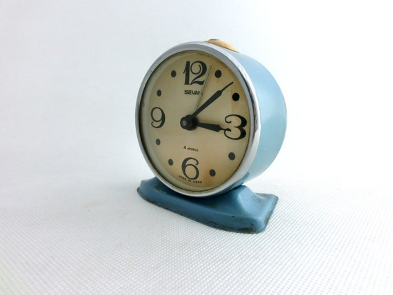 RESERVED FOR FENI Vintage blue alarm clock from Russia