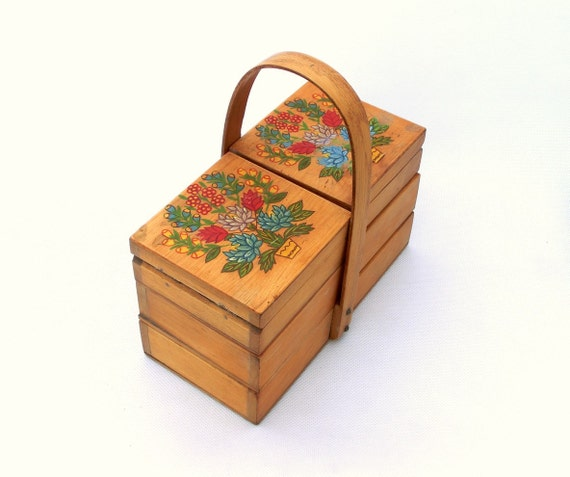 Vintage small wooden sewing storage box