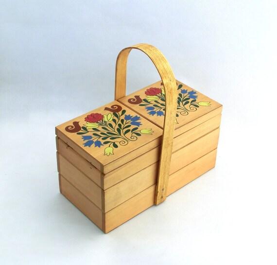 Vintage wooden sewing storage box - folk style
