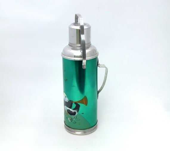Vintage green thermos Panda from China 70s