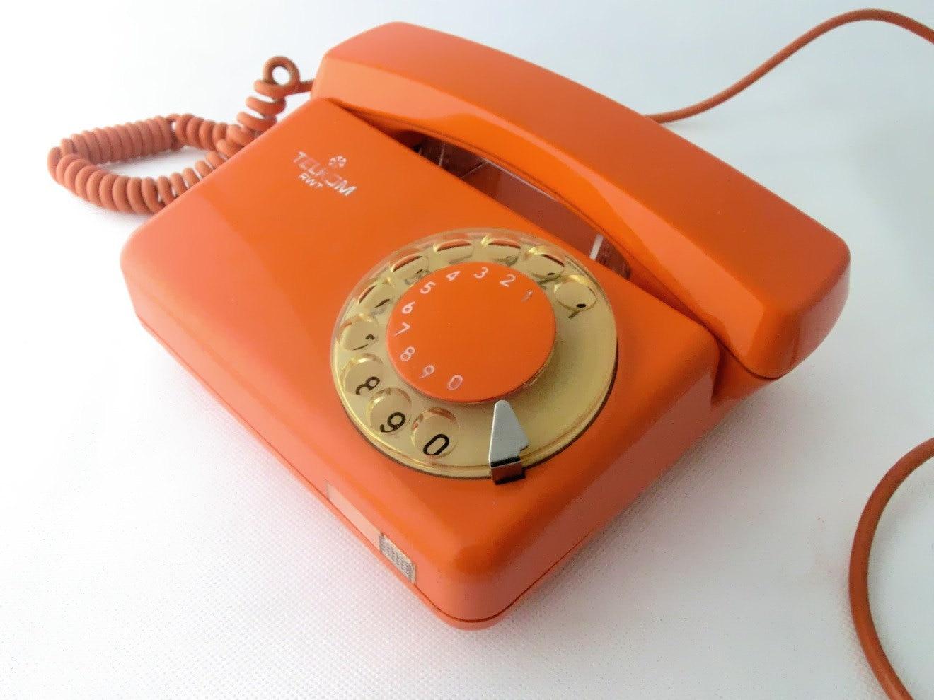 vintage orange rotary telephone. Black Bedroom Furniture Sets. Home Design Ideas