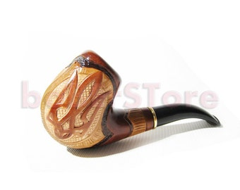"""Wooden pipe Carving Handmade. Smoking Pipe/Pipes-Tobacco pipe/pipes, Wooden Pipes-Pipe for Pipe Smokers """"CARVED TRIDENT"""" Best Price in FPS"""