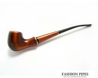 "UNIQUE Long Pipe 8.3'', Tobacco Pipe of Pear Root Wood Pipe ""Lady - Blues"" carved Lady Wooden Pipe - Best Price in Fashion Pipes Shop."