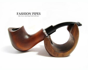 "Fashion Set - New pipe & Stand, Wooden Pipe, Classic Tobacco Pipe Smoking Pipe ""Saddle RING"". Designed For Pipe Smokers - Best Price in FPS"