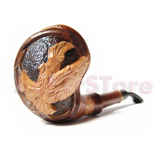 American Eagle - Long 7'' Tobacco Pipe Smoking Pipe/pipes Engraved Carved Wooden pipes/pipe Handcrafted EAGLE Wood pipe - Best Price Offer