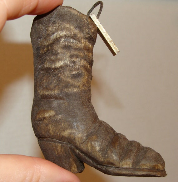 Hand carved cowboy boot ornament