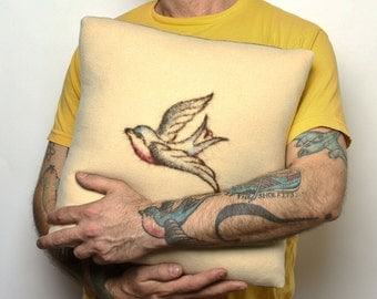 Swallow Tattoo Felted Pillow 16""