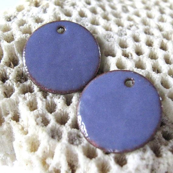 2 Pale Purple enameled copper discs