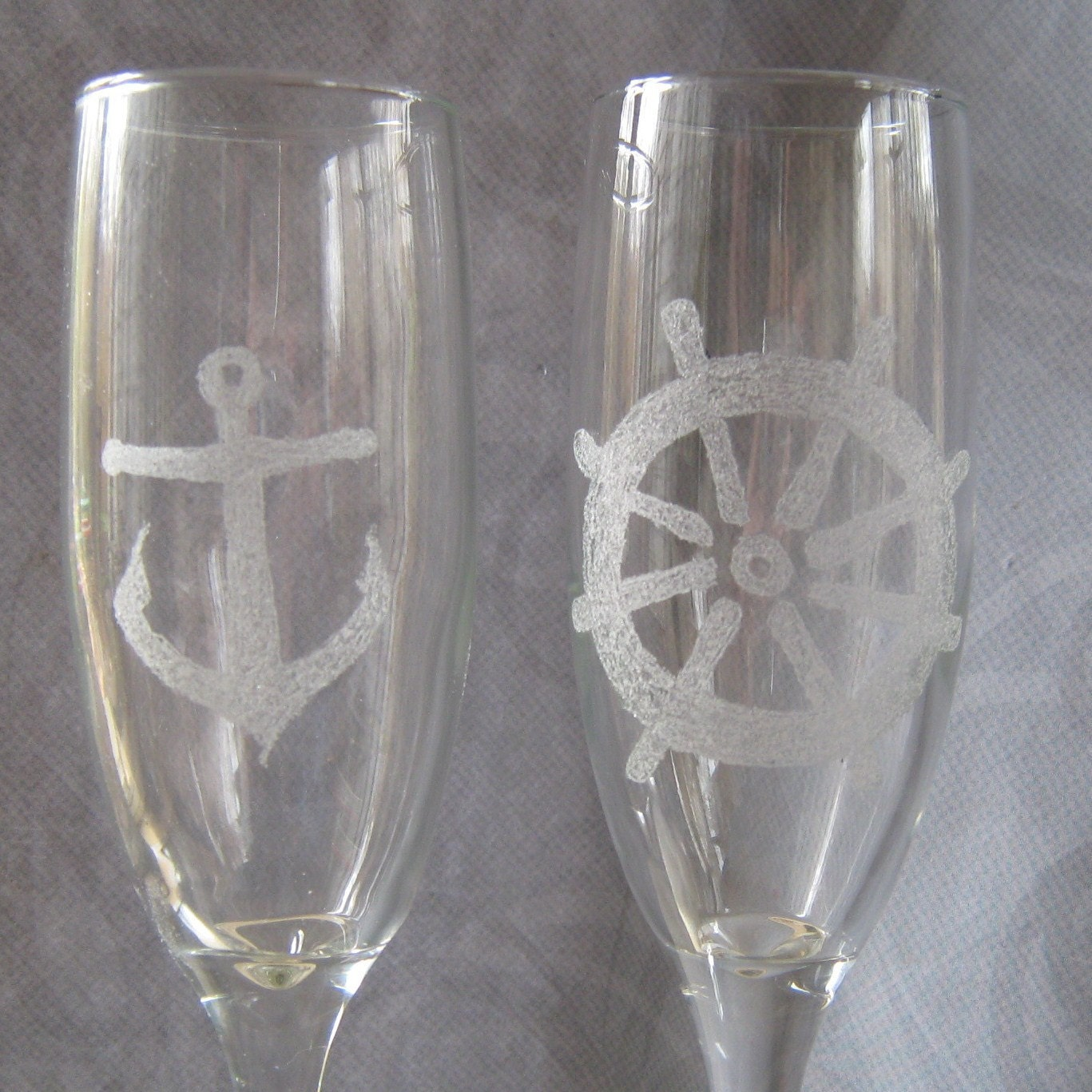 Etched wine glass nautical champagne flute - Fluted wine glasses ...