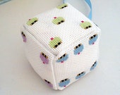 Fabric hanging dice ornament with cross stitch cupcakes
