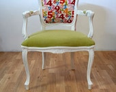 Green / Numbers Pattern Louis Armchair