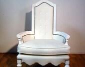 White Vinyl Silver Stud Arm Chair