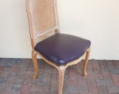 LISTING for Etsy Member: MOONDARIA - White Linen Fabric - Vintage Cane Back Armless French Louis Chair with Wood frame