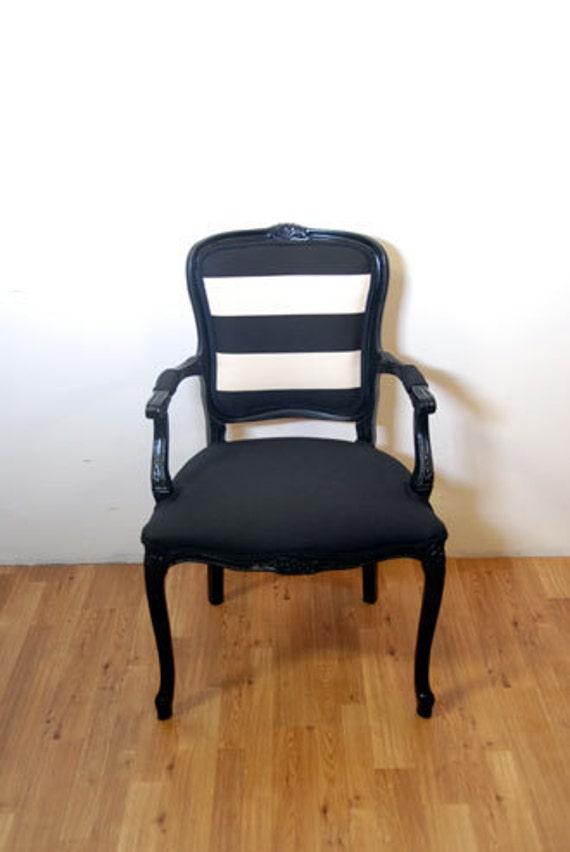 Antique Black & White Stripe French Louis Chair