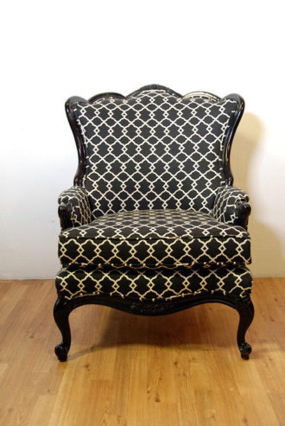Oversized Black Pattern Armchair