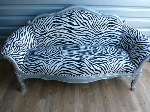Items Similar To Zebra Vintage Loveseat Settee 2 Seat Sofa Couch On Etsy