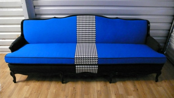 Items Similar To Blue Black Houndstooth French Regency