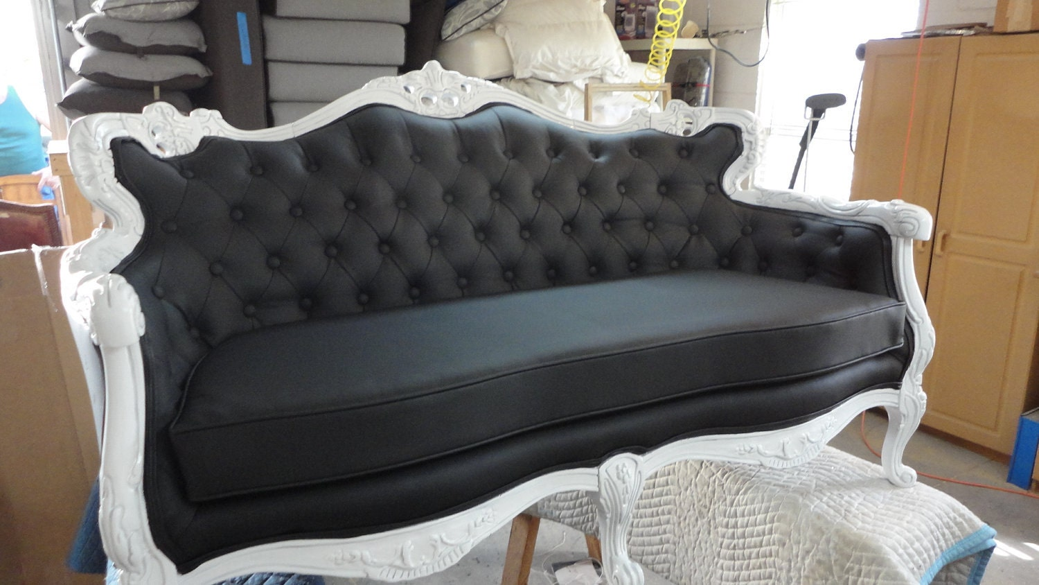 Baroque Black French Loveseat Sofa Couch With Tufting Shown