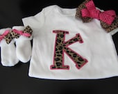 Monogrammed Onesie, Bow, and Sock Bows- Leopard Print