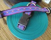 "Handmade Dog Collar with Woven Jacquard Ribbon 10.75"" Long"