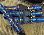 "Handmade Dog Collar with Woven Jacquard Ribbon 10"" Long"