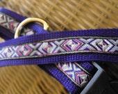 "Handmade Dog Collar with Woven Jacquard Ribbon 13.75"" Long"